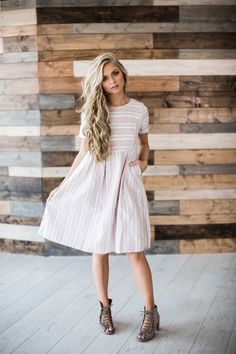 stripe dress, stripes, pink dress, hair, blonde hair, mothers day, sunday dress, style, fashion, spring, spring dress