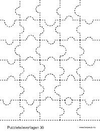 Template for a self-made puzzle (30 pieces, others also available on the website) Puzzleteilvorlage 30