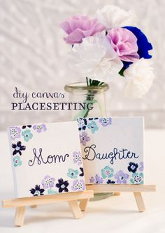 DI Canvace Place Setting // Mother's Day place card idea via onecharmingparty.com #mothersday