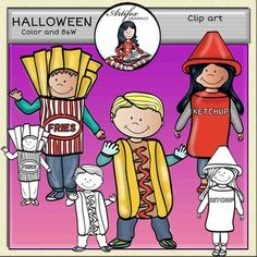 Food costumes. Halloween clip art set features 6items: 3 clip arts in color. 3 clip arts in black & white.All images are 300 dpi, Png files.This clipart license allows for personal, educational, and commercial small business use. If using commercially, or in a freebie, credit to my store by a link is required and appreciated.