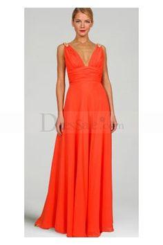 Grace Column Evening Dress with V-neckline and Empire Waistline