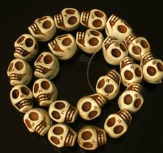 23pcs Halloween Hallowmas Gift White Turquoise Skulls Finding Beads For DIY #NO #handcarved
