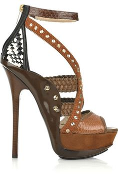 Jimmy Choo Vivienne Leather and Snakeskin Peep-toe Sandals