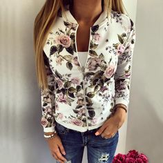 Cheap floral print bomber jacket, Buy Quality bomber jacket women directly from China printed bomber jacket Suppliers: 2018 Floral Print Bomber Jacket Women Slim Casual Business Jackets Zip Up Biker Coat Outwear Casaco Feminino Chaqueta Mujer BTS Floral Bomber Jacket, Printed Bomber Jacket, Sequin Jacket, Printed Blazer, Print Jacket, Coats For Women, Jackets For Women, Clothes For Women, Ladies Clothes