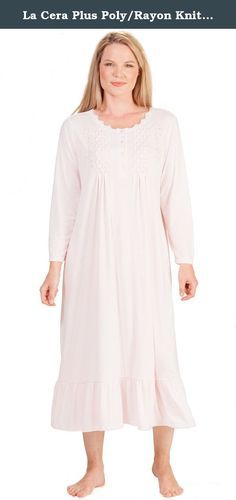 La Cera Plus Poly/Rayon Knit Long Sleeve Ballet Nightgown - Pink Bloom (2X (22-24), Pink). La Cera Plus Nightgowns - Enjoy the soft and cozy feel of this plus size la Cera gown against your skin. Made of a polyester/rayon knit blend, this nightgown comes in Pink Bloom and features a lovely feminine bodice with smocking and floral embroidery.