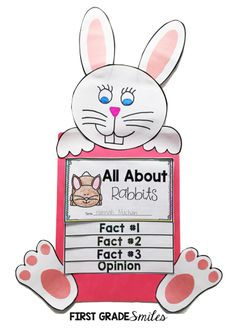 Learning about Rabbits/Bunnies - perfect for Easter and Spring. Kindergarten, First Grade, Second Grade