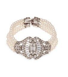 Bridal 4 Row Pearl and Crystal Sweetheart Bow Bracelet