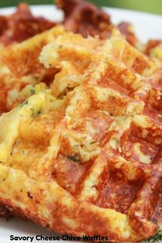 Savory Cheese Chive Waffles Gotta figure out how to make this paleo Low Carb Waffles, Savory Waffles, Breakfast Waffles, Savory Breakfast, Pancakes And Waffles, Low Carb Breakfast, Breakfast Recipes, Cheese Waffles, Paleo Pancakes