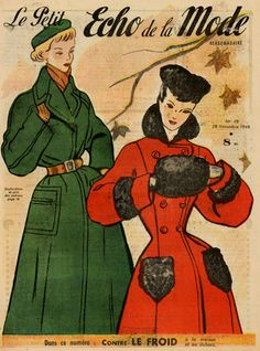 Adore! (Especially the red coat ad cute little black muff.) #vintage #1940s #fashion