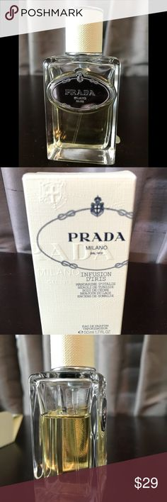 Prada Infusion D'Iris Eau de Parfum 1.7 oz ($95+) Original Box included. 85% of perfume in bottle (around 42 mL).Wrapped securely for shipping. Great deal on a classic perfume in a gorgeous bottle. Authentic, obviously. Priced to sell. Please reach out with any questions! Prada Other