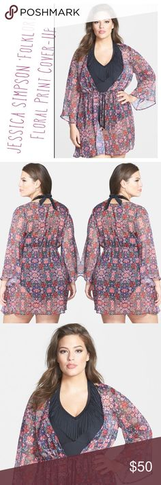 JESSICA SIMPSON 'Folkloric' Floral Print Cover-Up JESSICA SIMPSON 'Folkloric' Floral Print Cover-Up.   Cinched by a front-tie drawstring waist to maintain a feminine silhouette, an airy cover-up is decked in vivid blooms and left sheer to give your favorite suit full play. Made in 🇨🇳 China.   COLOR:  Reds, Violets, Greens & Blue/Black CONDITION:  Pre-owned (used once) excellent condition.  No Holes or Satins MATERIAL:  100% Polyester  MEASUREMENTS: 📏Per manufacturer 1X=16 Jessica Simpson…