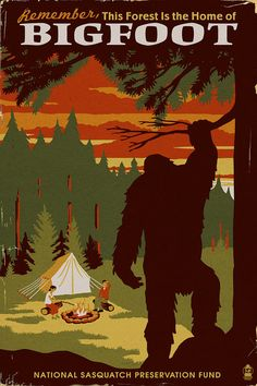 Home of Bigfoot  WPA Style Art Prints by NightingaleArtwork