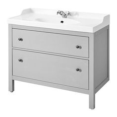 IKEA - HEMNES / RÄTTVIKEN, Sink cabinet with 2 drawers, gray, , Smooth-running and soft-closing drawers with pull-out stop.You can easily see and reach your things because the drawers pull out fully.The included water trap is easy to connect to the drain, washing machine and dryer because it is flexible.Unique water trap design gives room for a full sized drawer.