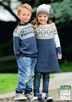 Tunika med rundt bærestykke pattern by Olaug Beate Bjelland Fair Isle Knitting, Knitting Yarn, Baby Knitting, Crochet Toddler, Crochet Baby, Knit Crochet, Knitting Patterns Free, Free Knitting, Baby Barn