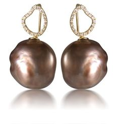 Yvel chocolate Pearl and Diamond earrings.