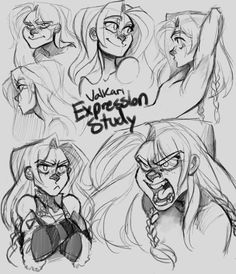 Expression study~ I used to draw pages and pages of my characters with different expressions, and it used to be one of my favorite things to do. Since I started learning how to better draw full body...