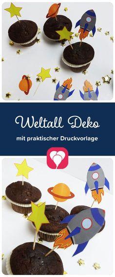 Weltraum-Deko-Picker Mit diesen hübschen Deko-Pickern zum Motto Weltraum verschaffst Du Deinen Muffins und Snacks einen perfekten galaktischen Schein! Lade sie doch gleich herunter auf balloonas.com und verwendet sie für die nächste Kindergeburtstagsparty. #kindergeburtstag #motto #mottoparty #party #kinder #geburtstag #weltraum #weltall #galaxy #galaktisch #deko #picker #gebäck #backen #muffin #download #diy
