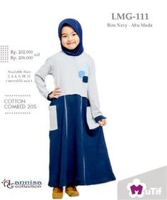 Baju Dress Gamis Anak Little Mutif Model LMG-111 Biru Navy