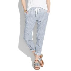 striped drawstring pants and also a way to fix a problem with existing too big, too low-waisted striped pants!