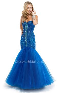 shimmering fit and flare bright blue prom dress with beaded bodice
