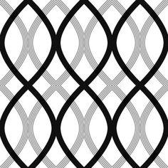 Beacon House 56 sq. ft. Contour Black Geometric Lattice Wallpaper