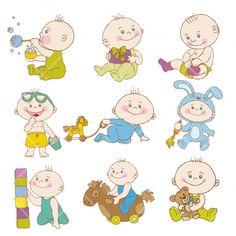 INSTANT DOWNLOAD Cartoon Baby Boy Doodles by DigitalVintageDreams, $2.70