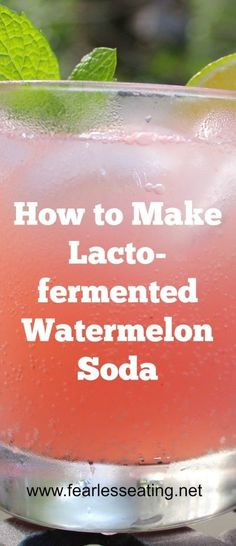 How to Make Lacto-fermented Watermelon Soda: 4 cups watermelon cut into chunks, cup organic cane sugar or dehydrated cane juice or rapadura, cup whey or water kefir or champagne yeast or a ginger bug, 1 quart water Kombucha, Healthy Drinks, Healthy Recipes, Healthy Food, Ginger Bug, Probiotic Drinks, Alcoholic Beverages, Fermentation Recipes, Water Kefir