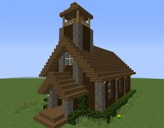 Adacia Rustic Church - GrabCraft - Your number one source for MineCraft building. - Explore the best and the special ideas about Minecraft Houses Minecraft Medieval Village, Minecraft Barn, Construction Minecraft, Minecraft Building Blueprints, Minecraft House Plans, Minecraft Cottage, Cute Minecraft Houses, Minecraft House Designs, Minecraft Buildings