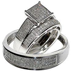 his her wedding rings set trio men women 10k white gold rings midwestjewellerycom - Amazon Wedding Rings