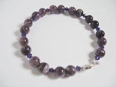 Amethyst Memory Wire Bracelet, Purple Bracelet, Amethyst Jewelry, Febuary Birthstone by LaurieCrosbyDesigns on Etsy
