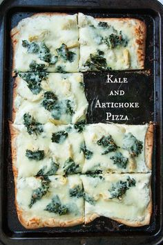 Kale & Artichoke Pizza w/ Roasted Garlic Ricotta; pizza dough, homemade or store bought. 1 head garlic. 1 tsp olive oil. 1 1/2 c ricotta cheese. 1 tbs dried basil. 1/4 tsp red pepper flakes. 2 1/2 c kale, center rib removed & leaves chopped. 1 15-oz can artichoke hearts, quartered (not packed in oil). 2 c mozzarella cheese. salt. fresh ground pepper.