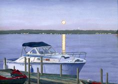 Dusky Blue Moon on the water Boat dock Giclee by artbylmr on Etsy