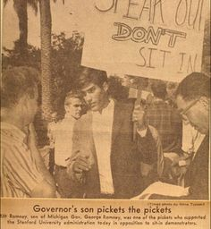 Hey look, everybody — Here's Mitt Romney protesting in favor of the Vietnam Draft in 1966!  Of course, Mitt got the Fortunate Son deferment, courtesy of his daddy's millions and subsequently spent the war hiding out in a chateau in France.    Are you all set to have Mitt the Draft Dodger condemn your son, your brother, your husband, your boyfriend, or you to death in Iran?    You better be, because that's the Romney/Ryan plan for the young men you love.