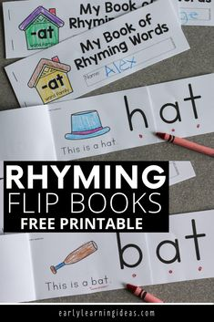 This printable rhyming book will help kids understand the concept of rhyme. Kids see that the end of each word remains the same as they flip the pages. This free printable is perfect for your early literacy centers in preschool, pre-k or kindergarten or at home.  The emergent reader is perfect for independent or small group activities.  Better than worksheets, the flip book is fun and interactive.  phonological awareness and phonemic awareness four young children. Preschool Activities At Home, Word Family Activities, Rhyming Activities, Phonics Games, Language Activities, Preschool Learning, Literacy Activities, Early Learning, Kindergarten Readiness