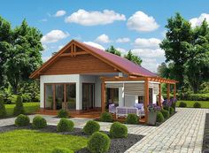 Photo of the project Kuchnia Letnia / Bud. Simple Bungalow House Designs, Bungalow Haus Design, Simple House Design, Bungalow House Plans, Modern House Design, House Floor Plans, Tyni House, Rest House, House In The Woods