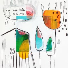 "House with tree Giclee abstract print yellow orange, Fine Art Giclee Print, modern painting ""This isn't rain"""