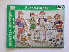 Vintage Sunrise Designs Runners Ready Sewing Pattern Activewear Boys Girls 8-12 #SunriseDesigns #RunnersReady