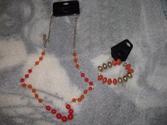 "GNW glass bead, gold tone metal, necklace ""oranges"" and stretch Orange bracelet  #GNW #Beaded"
