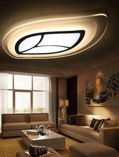 design Acrylic LED Ceiling Fixture Lighting Living Room Lights Pendant Lamp creative warm minimalist oval tree leaves lighting
