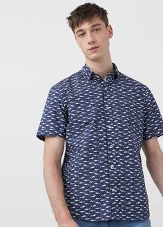 Slim-fit printed cotton shirt | MANGO MAN
