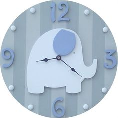 @Rosenberry Rooms is offering $20 OFF your purchase! Share the news and save!  Blue and Grey Elephant Wall Clock #rosenberryrooms