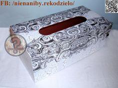 Black & white decoupage tissue box by NieNaNiby