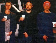 Эдвард Нортон, Дэвид Финчер и Брэд Питт на съемках «Бойцовского клуба»