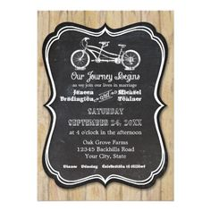 Bicycle Chalkboard Style Rustic Country Typography Invitations