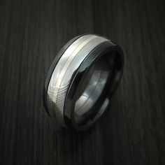 Black Zirconium and Damascus Steel Band 14K White Gold Center Custom Made Ring by Revolution Jewelry