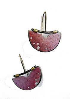 halfmoon painterly earrings by Tish Collins  ~  x
