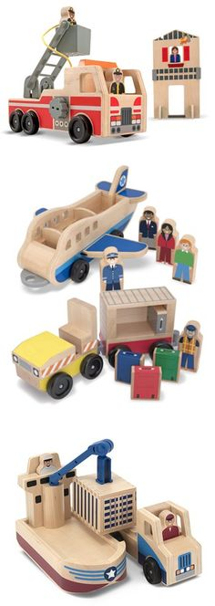 This miniature play world is filled with top-quality wooden play pieces, cool vehicles, bold, colorful graphics, and lots and lots of imagination. See the full collection: http://www.melissaanddoug.com/whittle-world-wooden-pretend-playsets