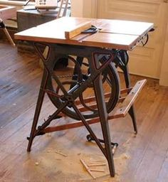treadle-powered table saw