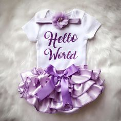 8074c8b12 Hello World / Newborn Girl outfit/Take home outfit/BabyGirl Cute Baby Girl  Outfits