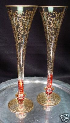 Pair of Hand Painted Gold Leaf Butterfly Ruby Red Champagne Glasses Ritzenhoff | eBay